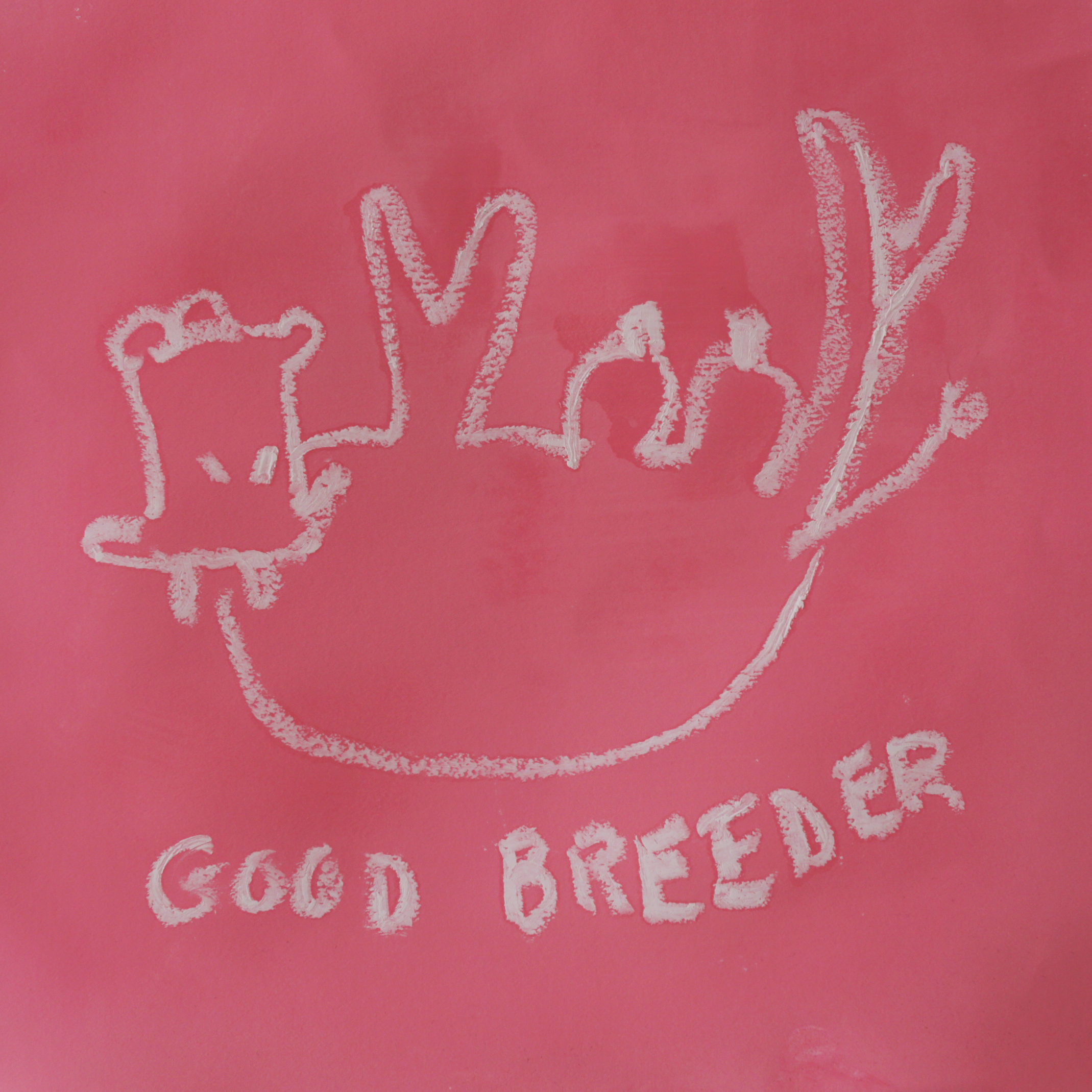 Good Breeder I , 2018  Gouache and oil pastel on paper  16 x 16 inches    Good Breeder  depicts an overturned cow, udders bulging, along with the title phrase. The work references the notion of women as breeders: here, fertility becomes a coveted virtue at the expense of individuality. Women have been reduced to their most primal form as reproductive vessels. The image is drawn from the artist's painting  Pink Lady  and references the debutante culture of the American South, where the phrase is most widely used.