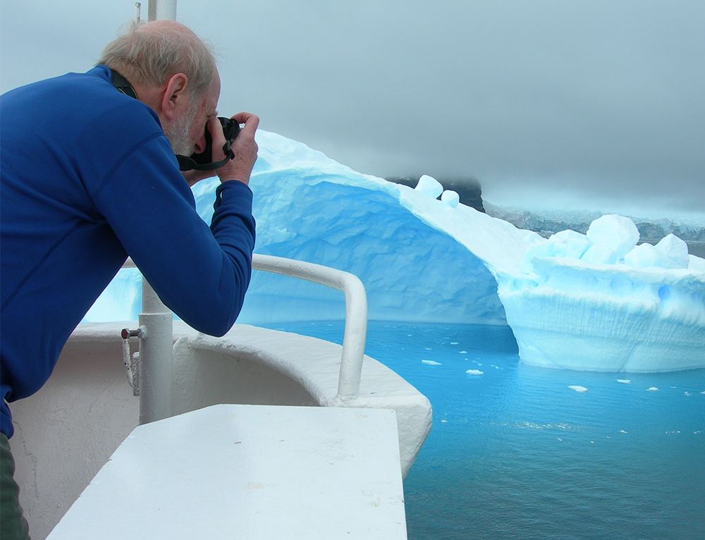 Fishing for photos in Antarctica (  Photo by Duff Johnson  )