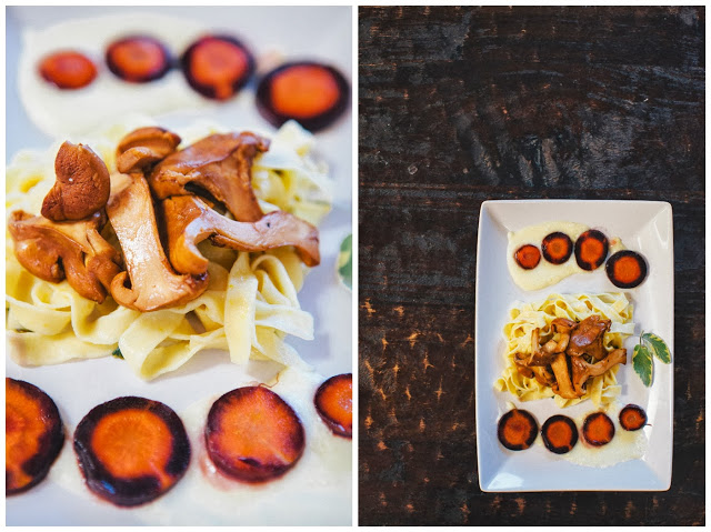 Homemade Butternut Squash Pasta with Flambeed Chanterelles