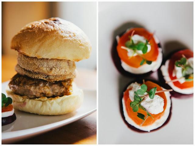 pork burger and beet salad