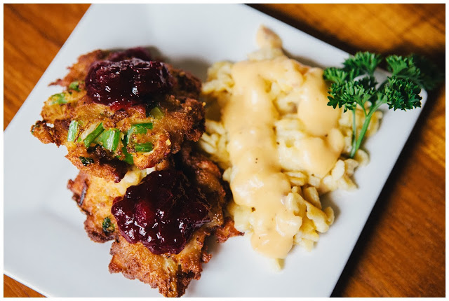 Turkey Cakes with Potato Spätzle and Gravy