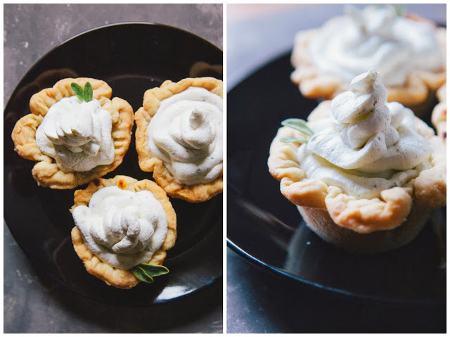 savory pumpkin tarts with sage whipped cream