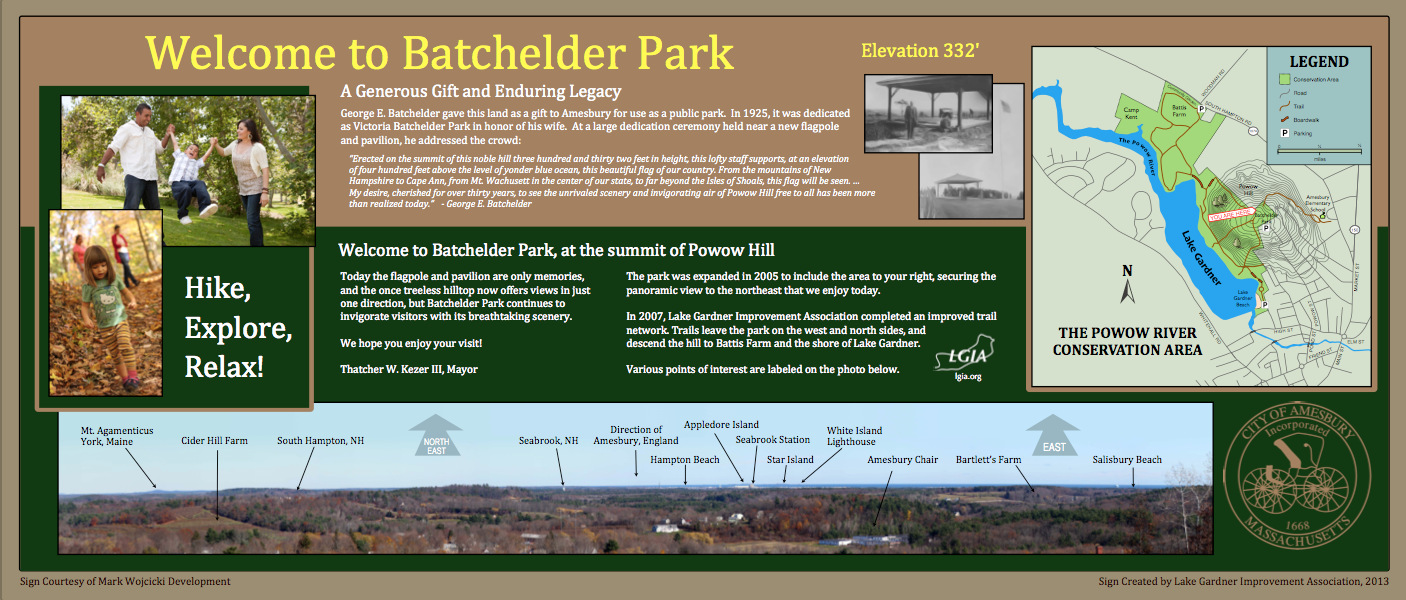 The kiosk at Batchelder Park shows an annotated panorama of the view.