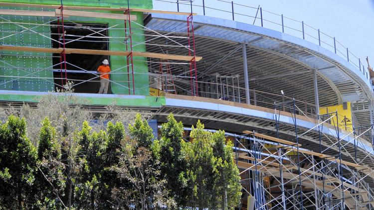 The unfinished nearly 30,000-square-foot residence being developed by Mohamed Hadid in Bel-Air is on hold after city officials pulled his permits. (Francine Orr / Los Angeles Times)