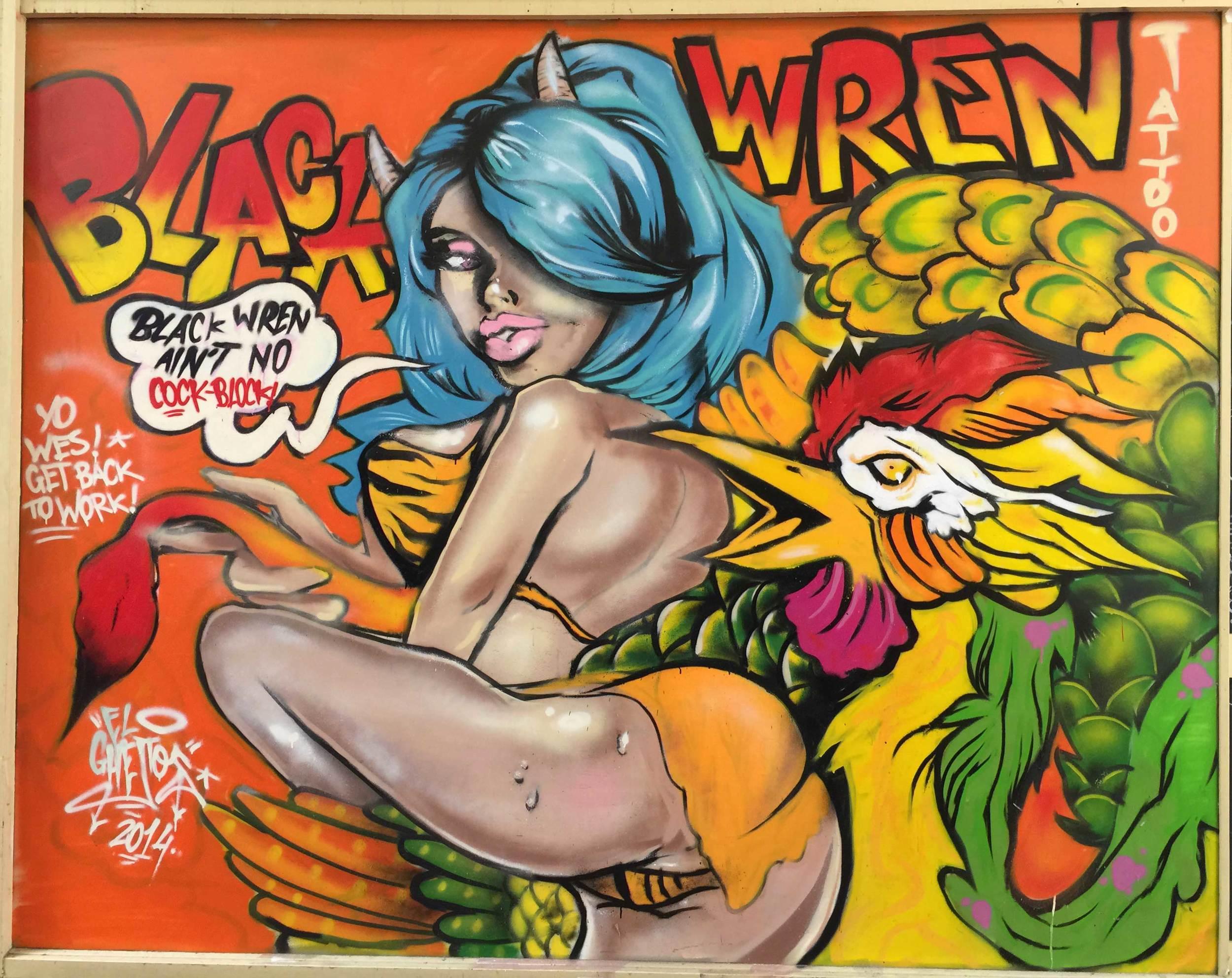 black-wren-ghetto-cock-block-graffiti-allans-walk