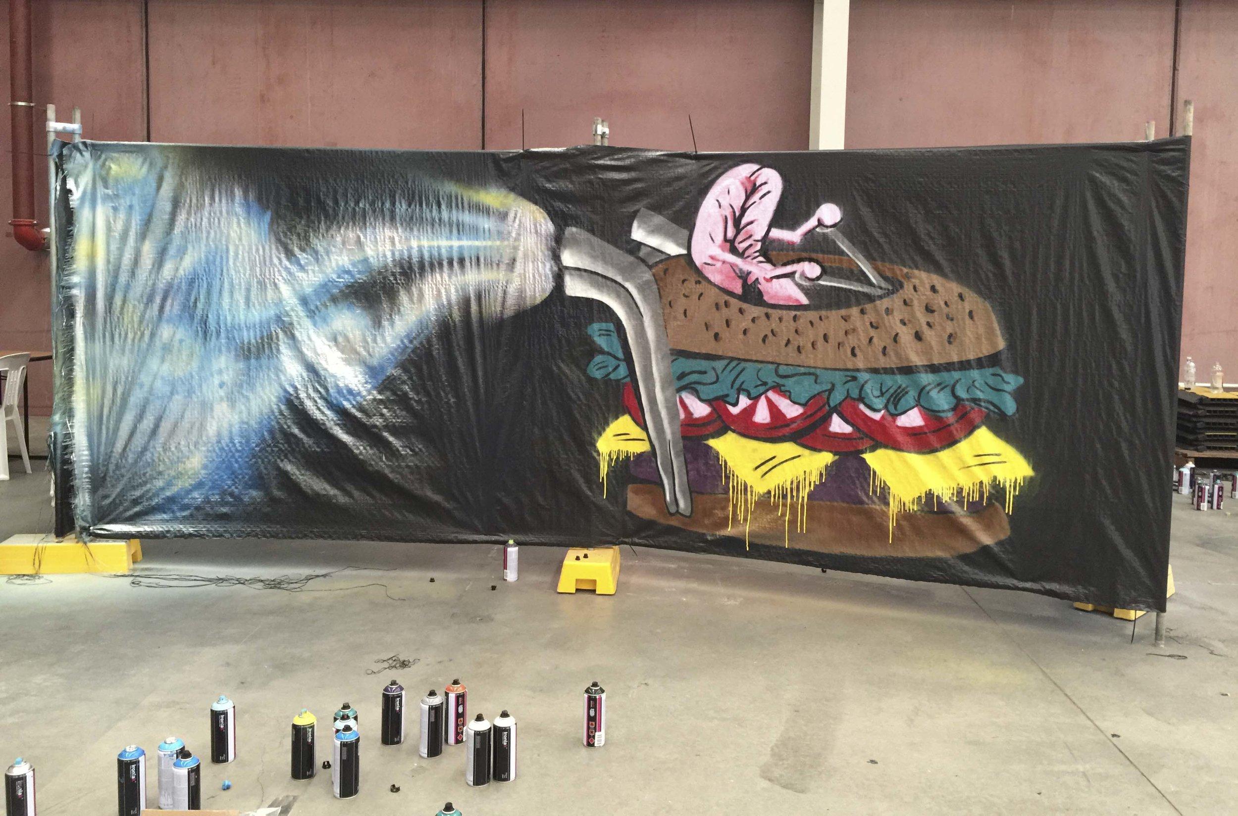 Reece paints a Hamburger Hovercraft at Bendigo GTM 2016