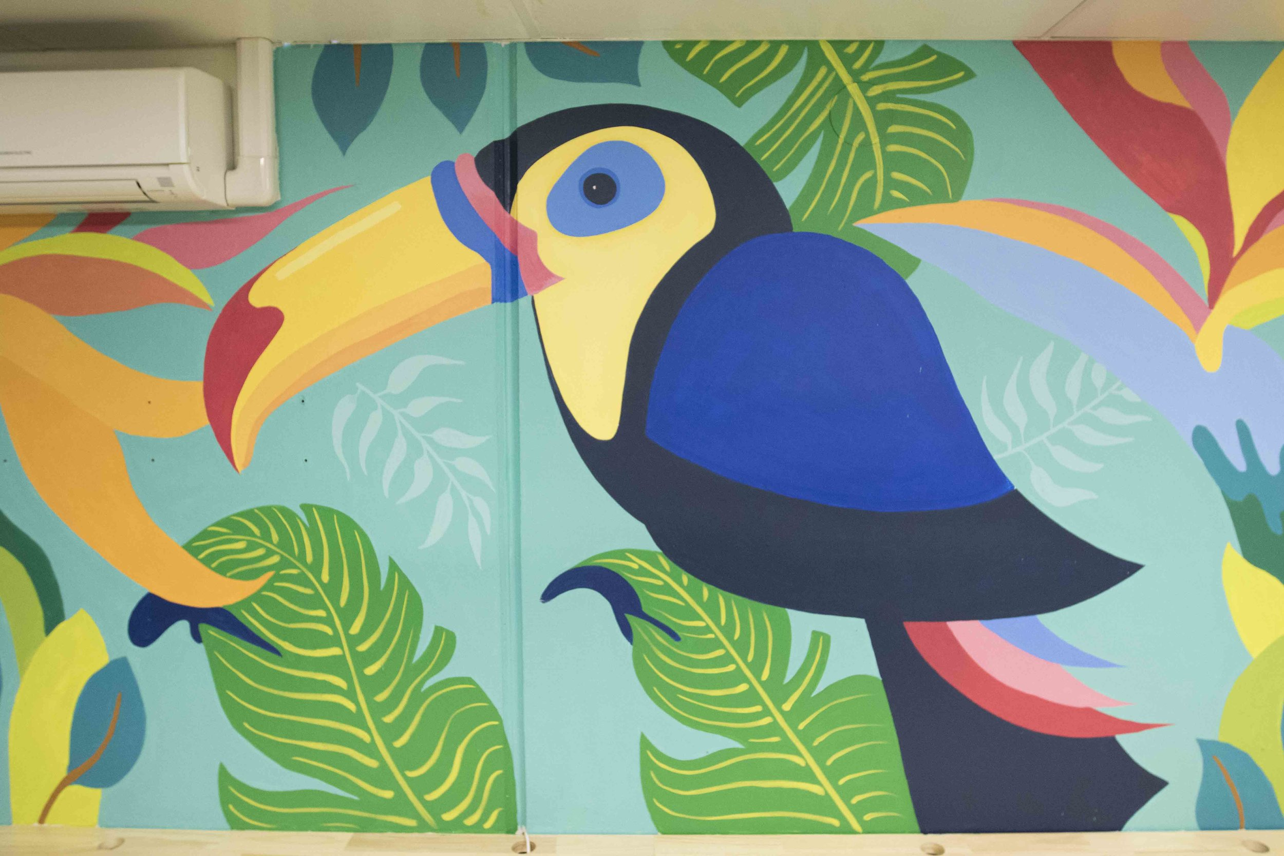 The brief was simple, paint a tropical jungle themed mural in the bosses office space.