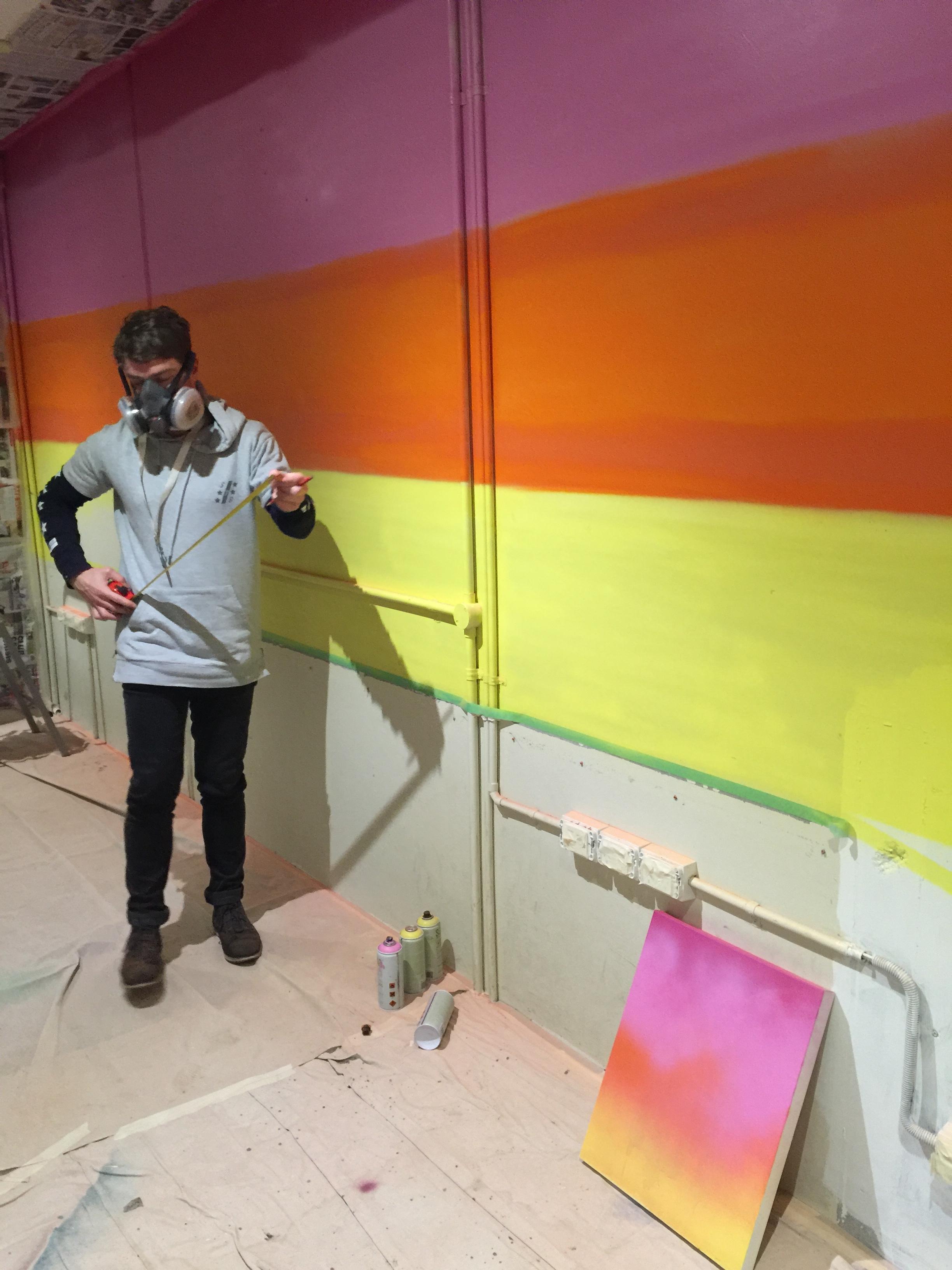 work in progress office mural spray paint beach scene