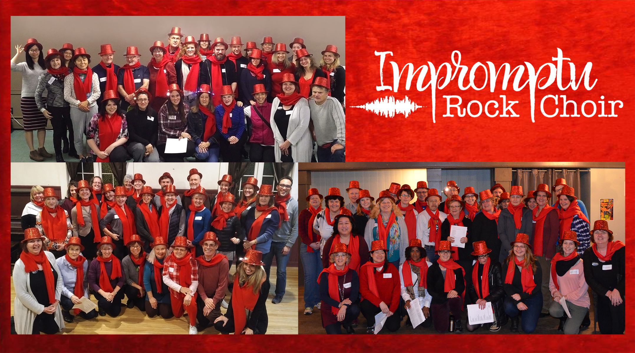 Yule Duel participants from our three choirs - Top left - Kitsilano! Bottom left - North Shore! Bottom right - East Van!