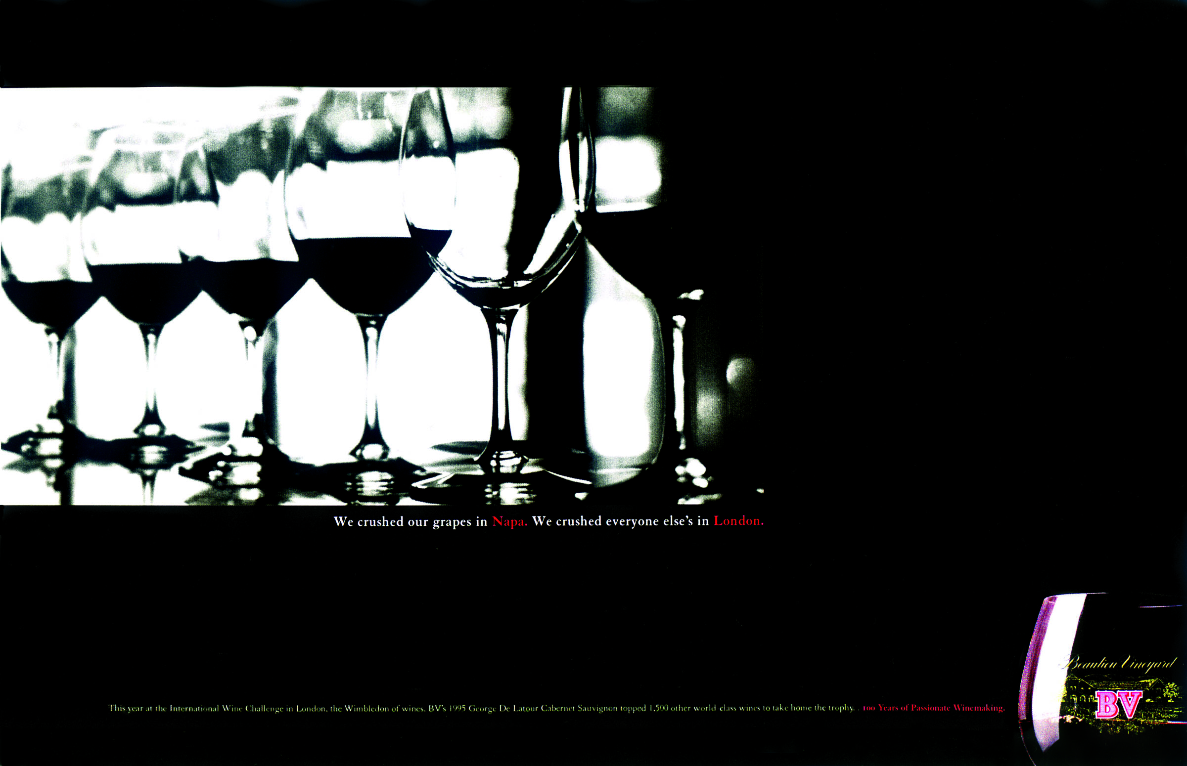 ad for bv wins to announce their recent win at the International wine challenge in london.