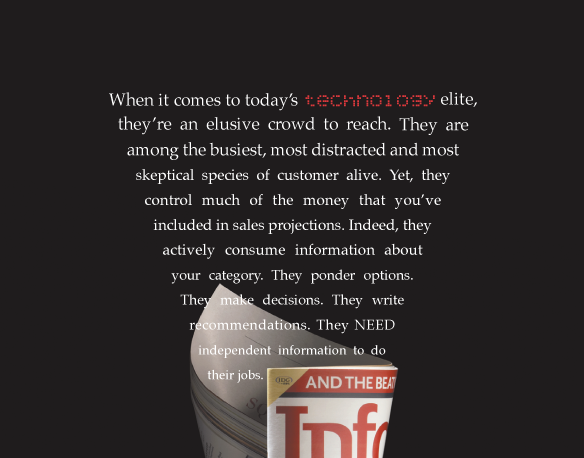 this was the cover of the infoworld media kit that described the magazine's approach to covering emerging technology.