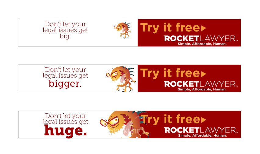 A retargetting banner for rocket lawyer designed to convince people to address their legal issues bfore they get out of control.