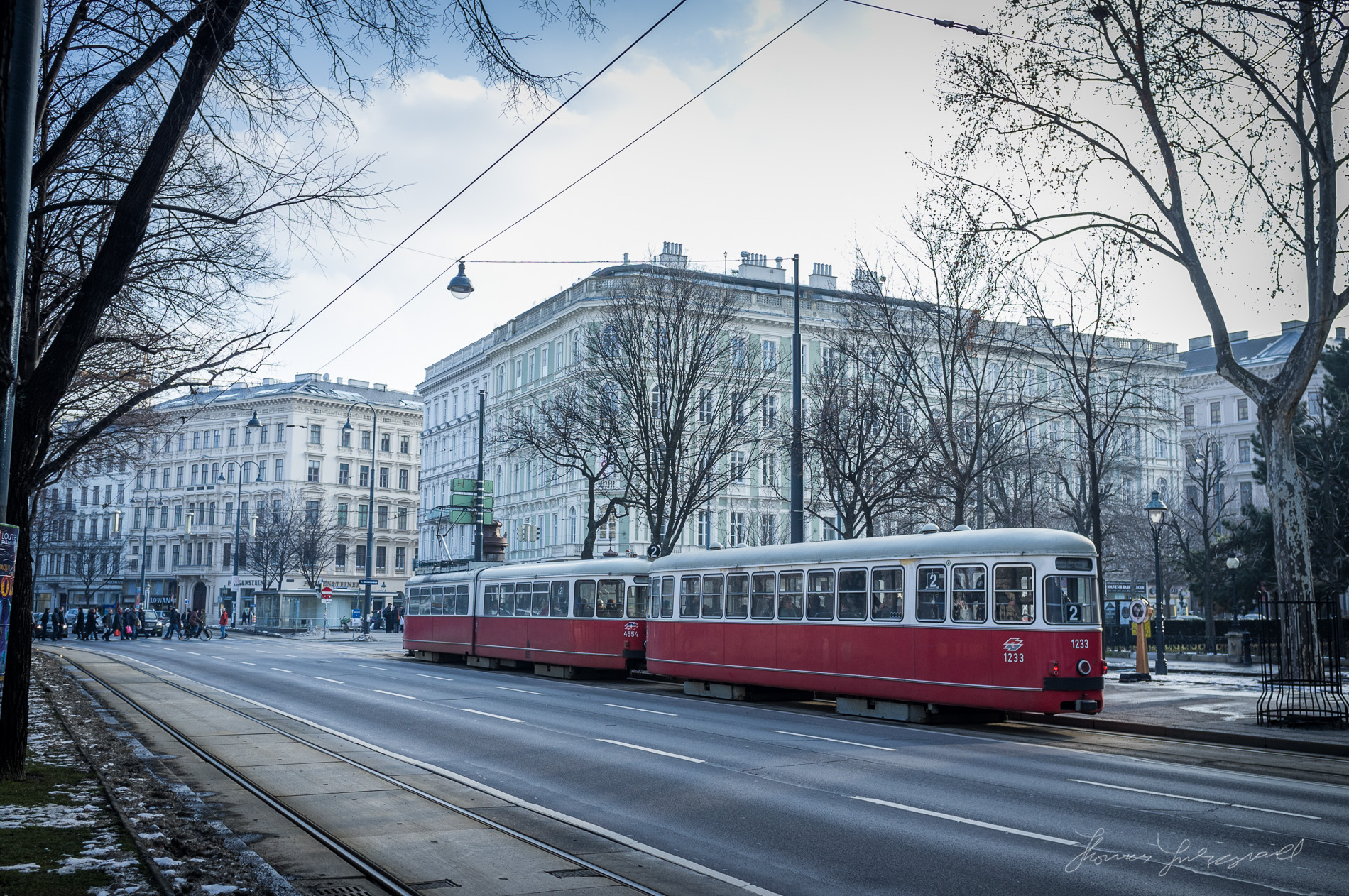 A Tram in the streets outside the museum quarter Vienna, Fujifilm X100