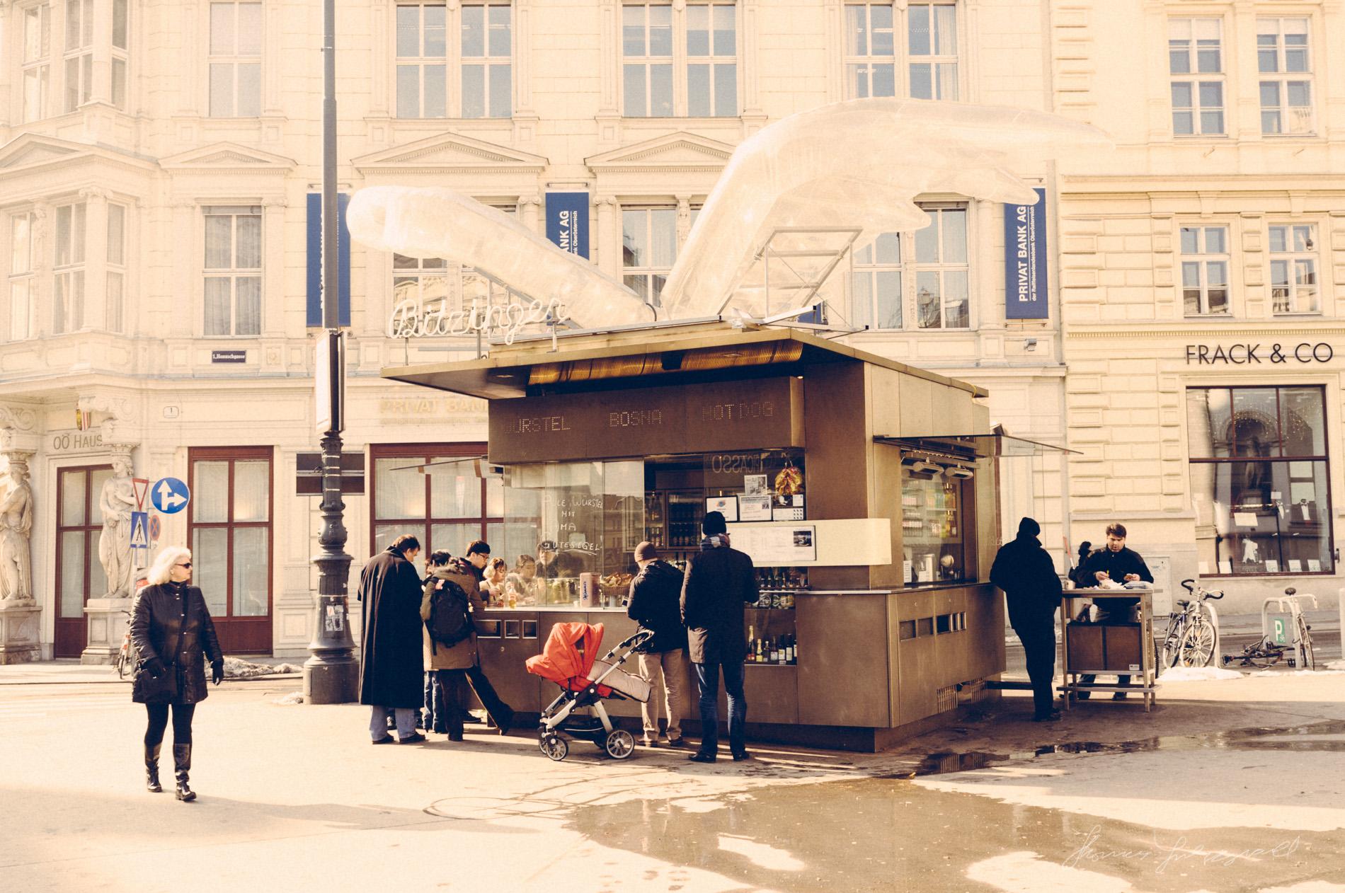 Hot Dog Stand outside the Opera House,  Vienna, Fujifilm X100