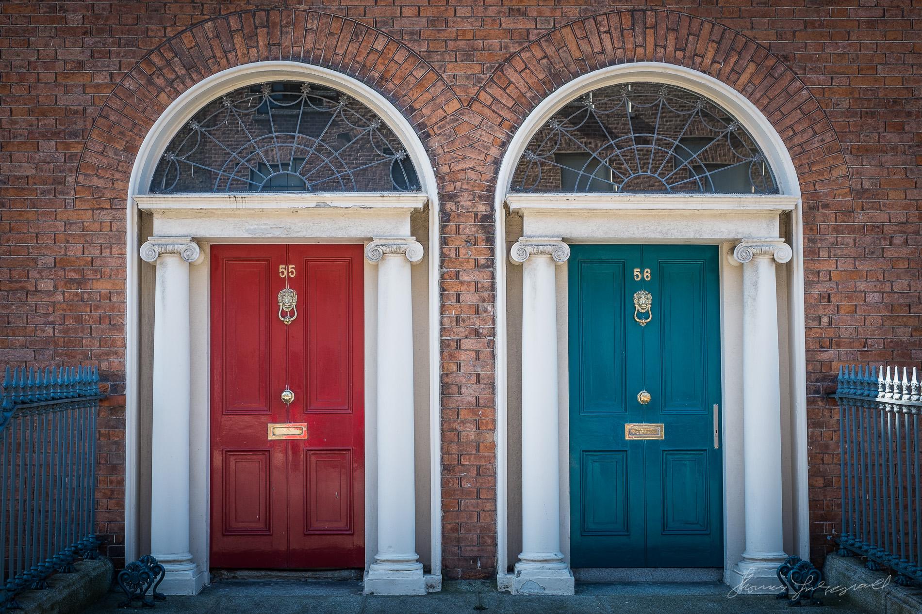 Red and blue Georgian Doors