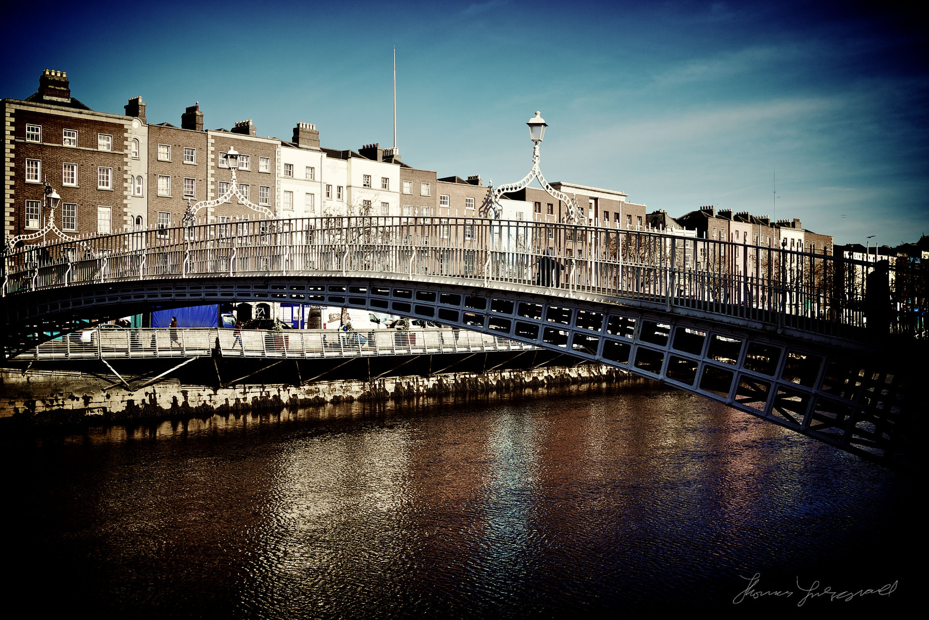 Ha'penny Bridge and Liffey