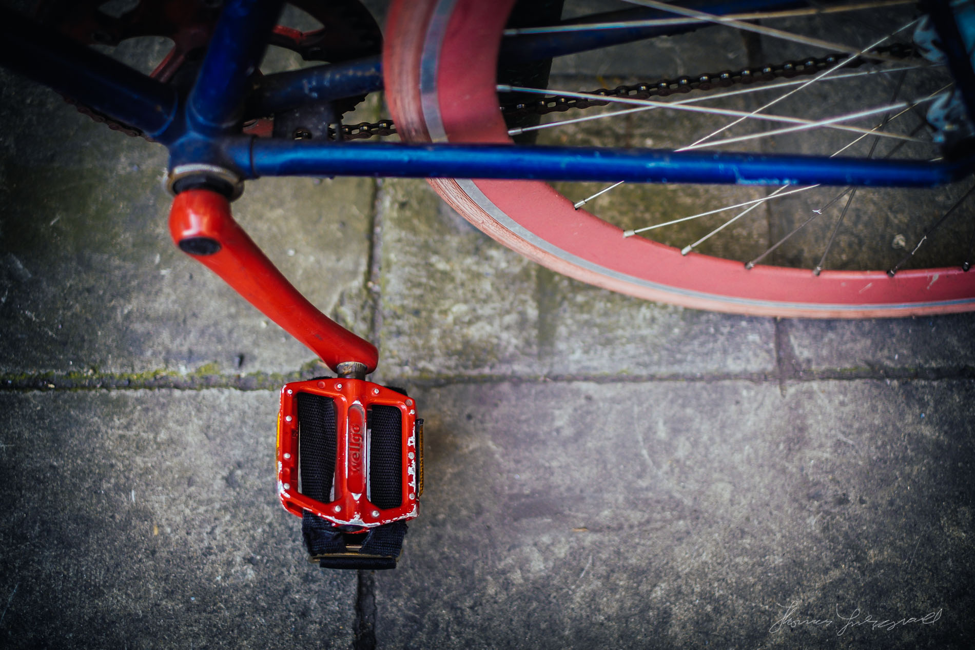 Red Peddle of Brightly Coloured Bike