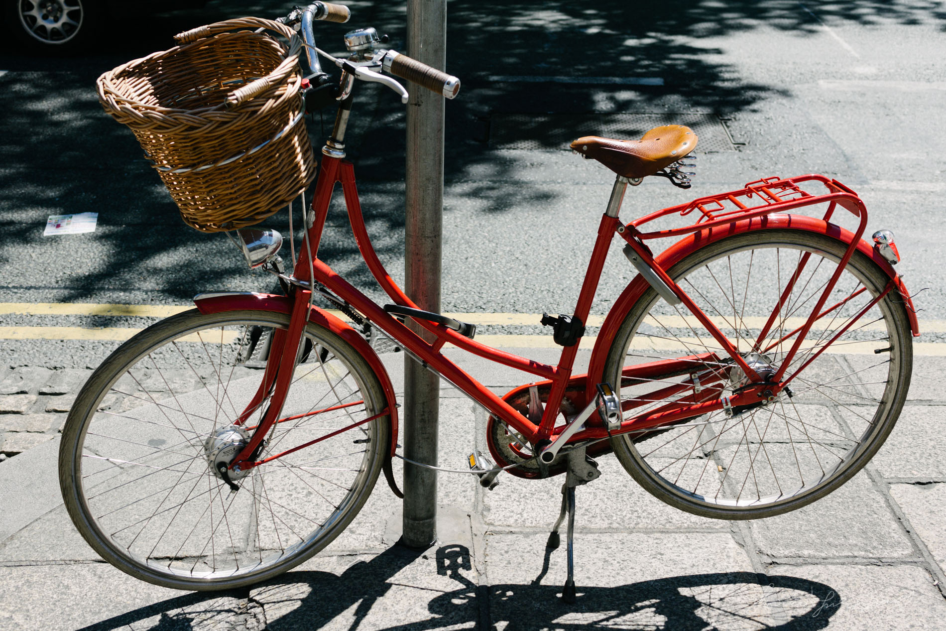 Beautiful Red Bicycle in Dublin City