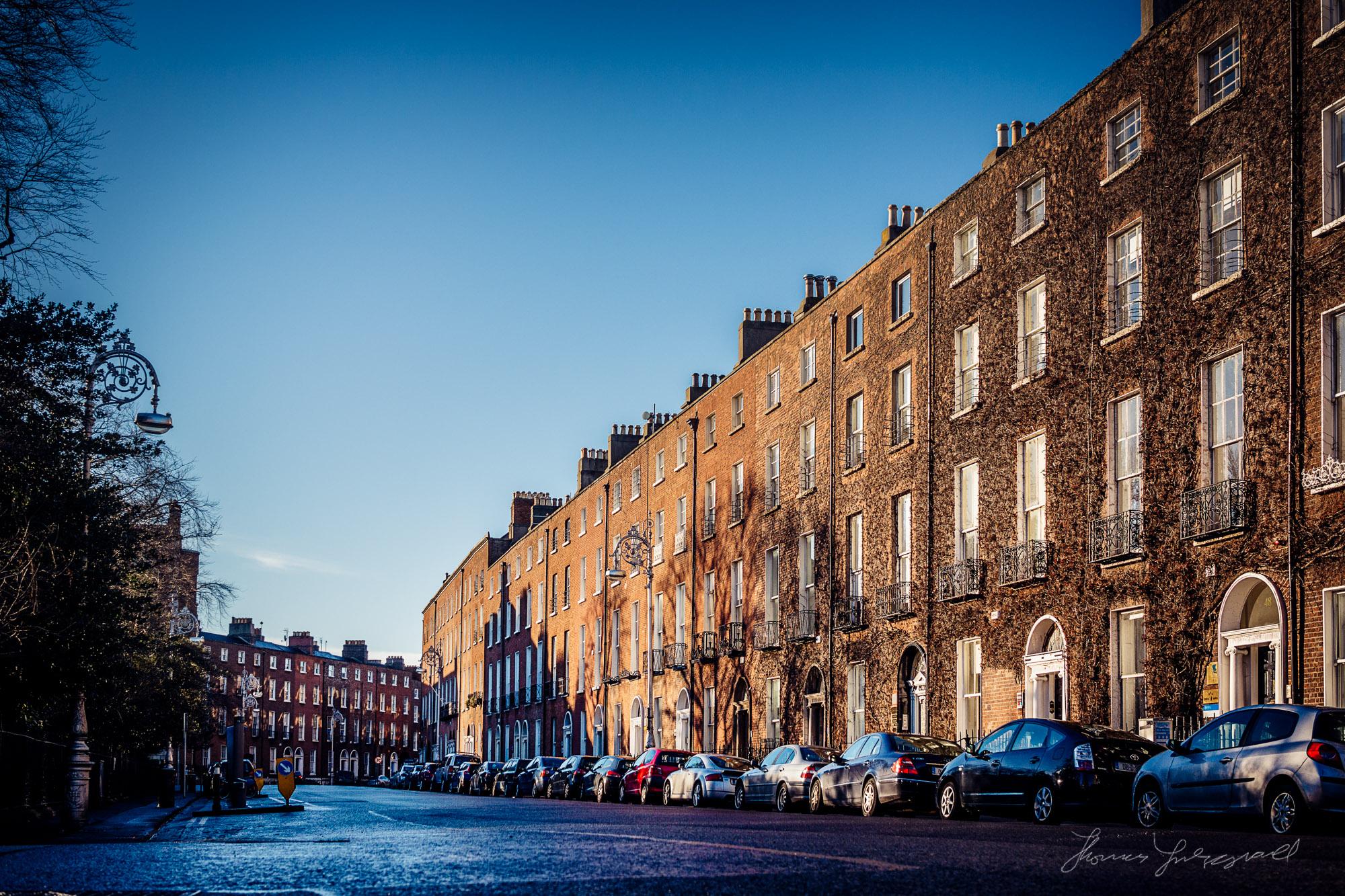 Pembroke Street in the beautiful light of the Irish winter morni