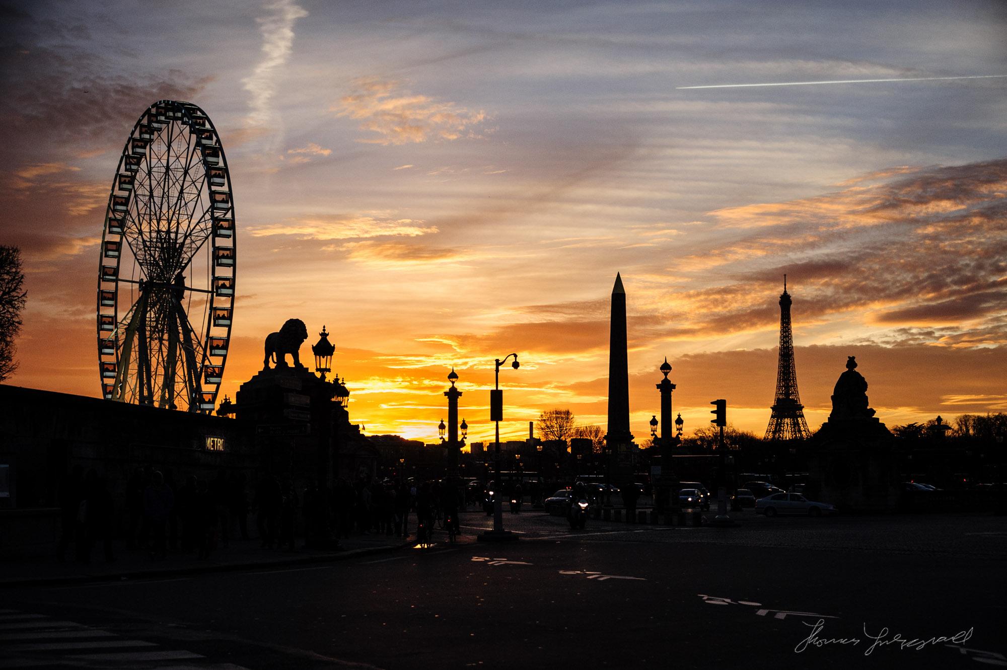Sunset over Place de Concorde in Paris on the Winter Solstice 20