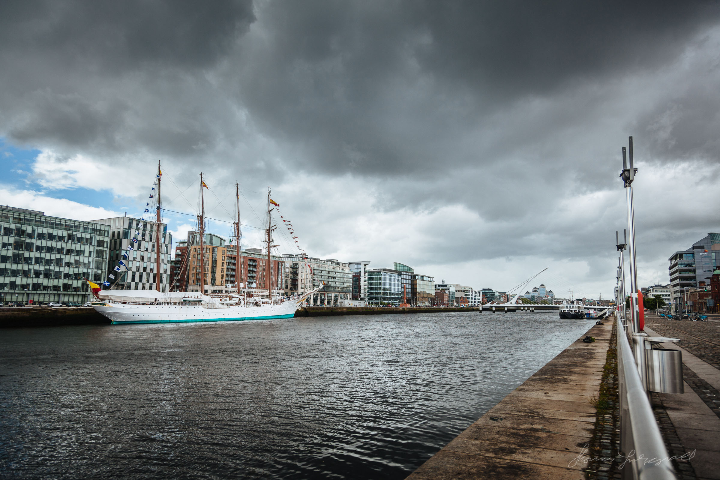 The Juan Sebastián de Elcano Docked on the River Liffey in Dublin