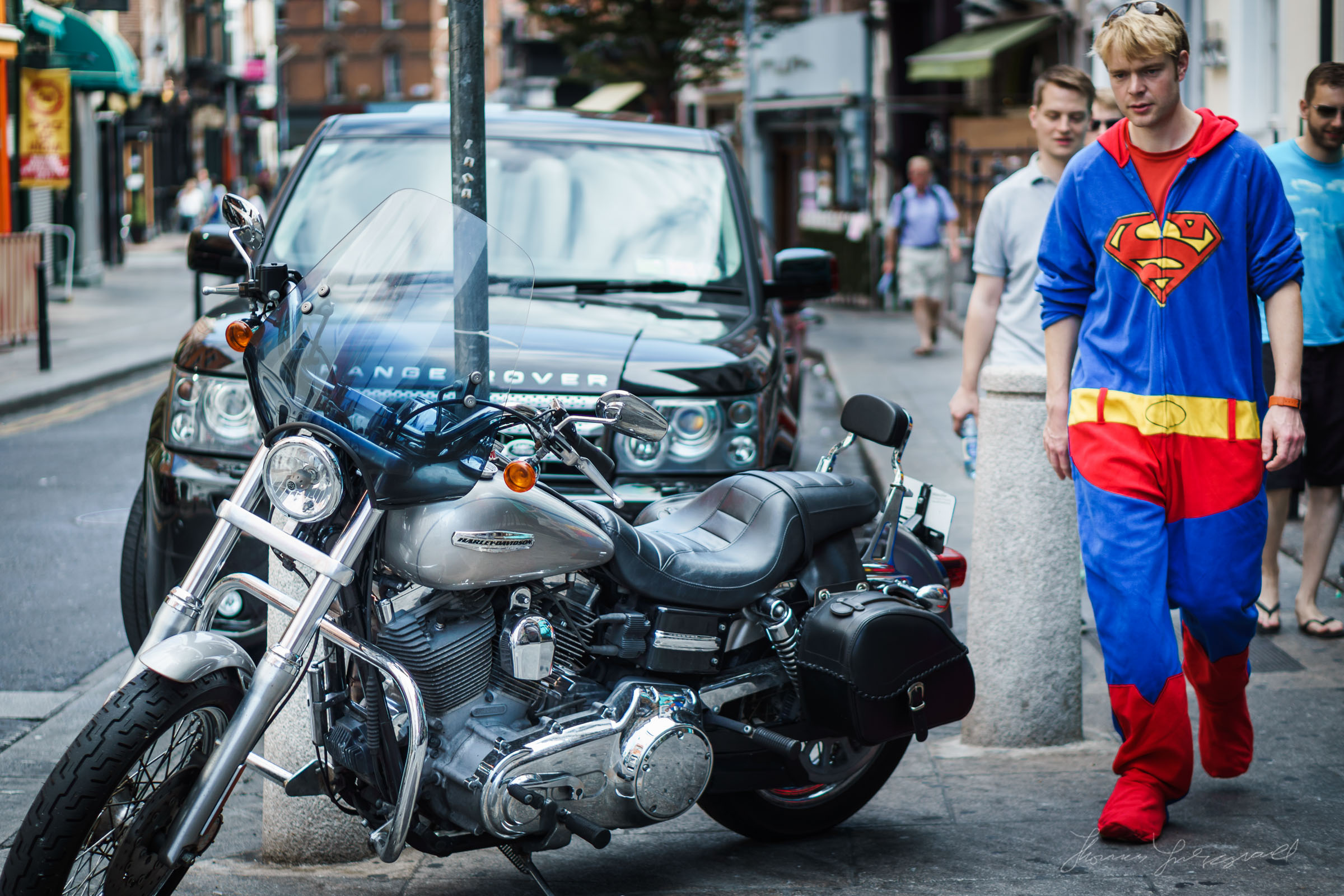 Superman looks for his motorbike