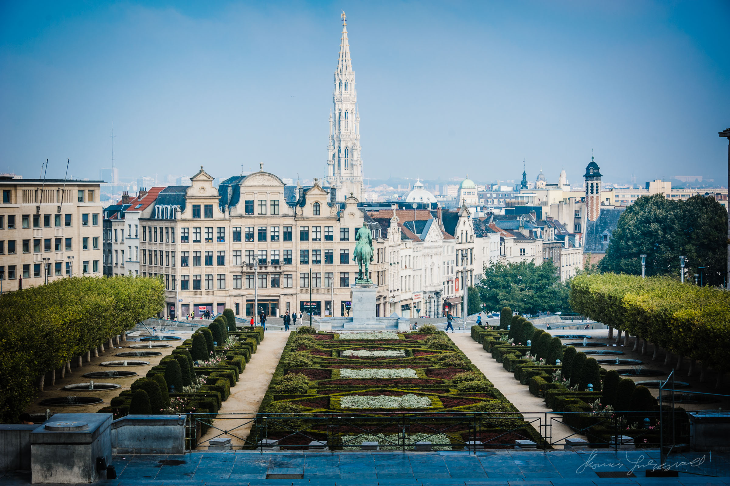 Gardens and Brussels Skyline