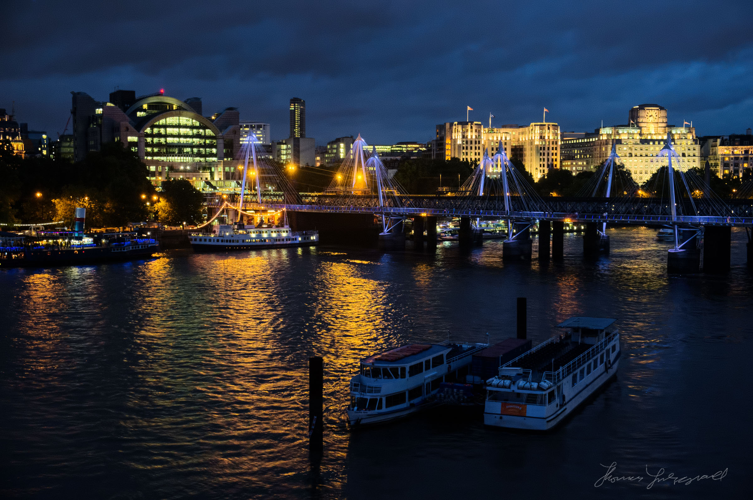 Riverboats on the Thames at Night