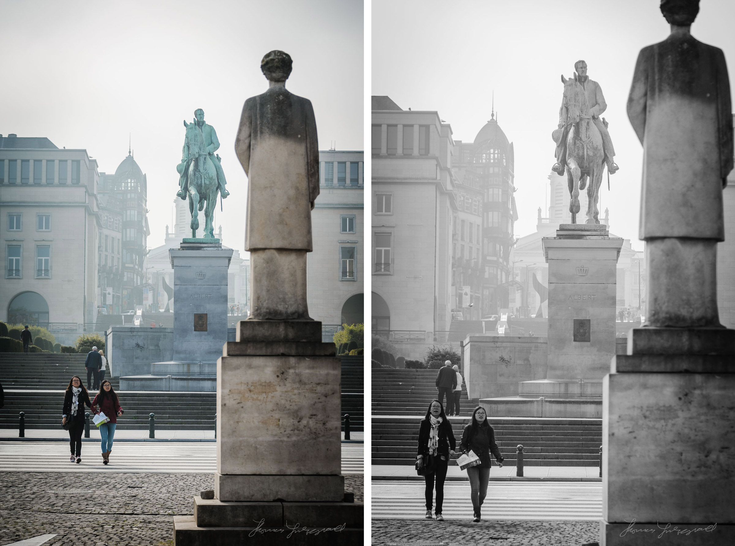Girls and statues