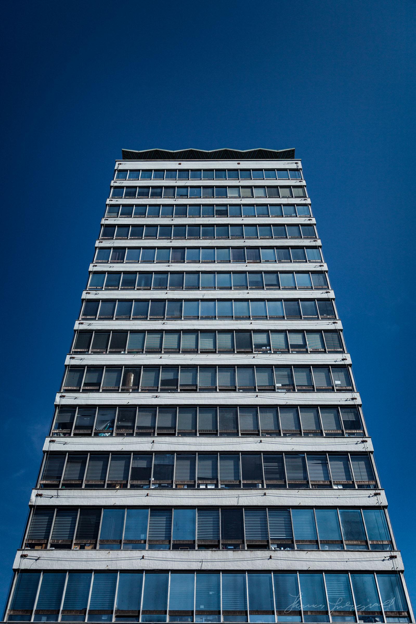 Liberty hall against a clear blue sky