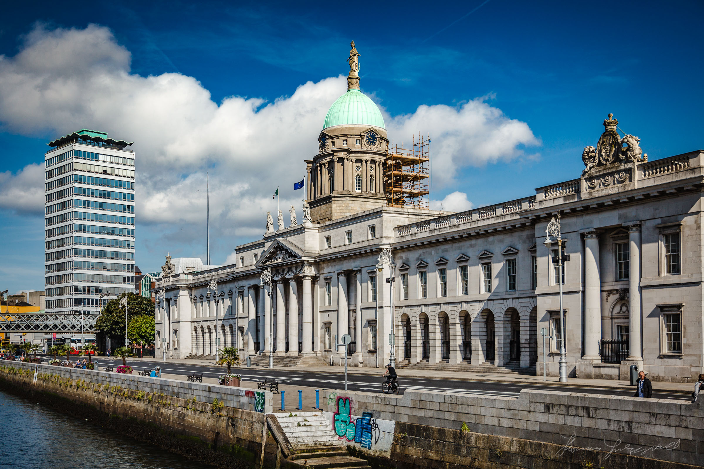 The Custom House in the Early Morning Walk by the Liffey