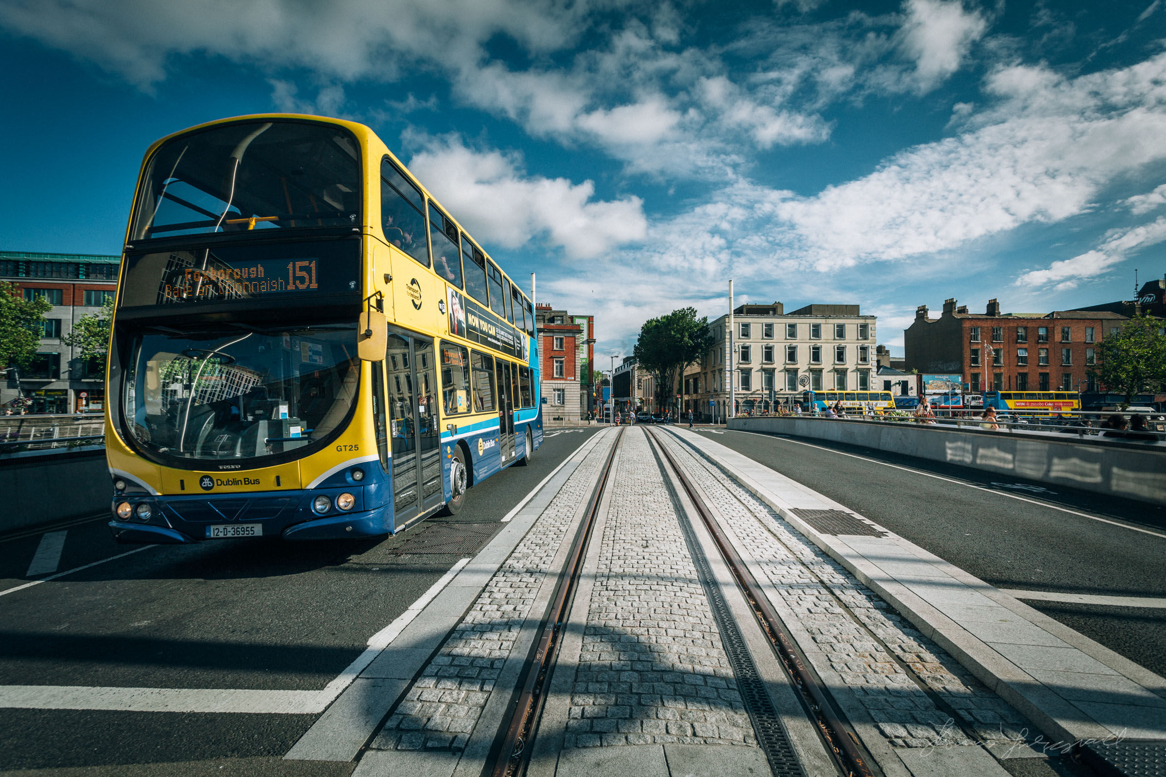 A bus crossing the Rosie Hackett Bridge