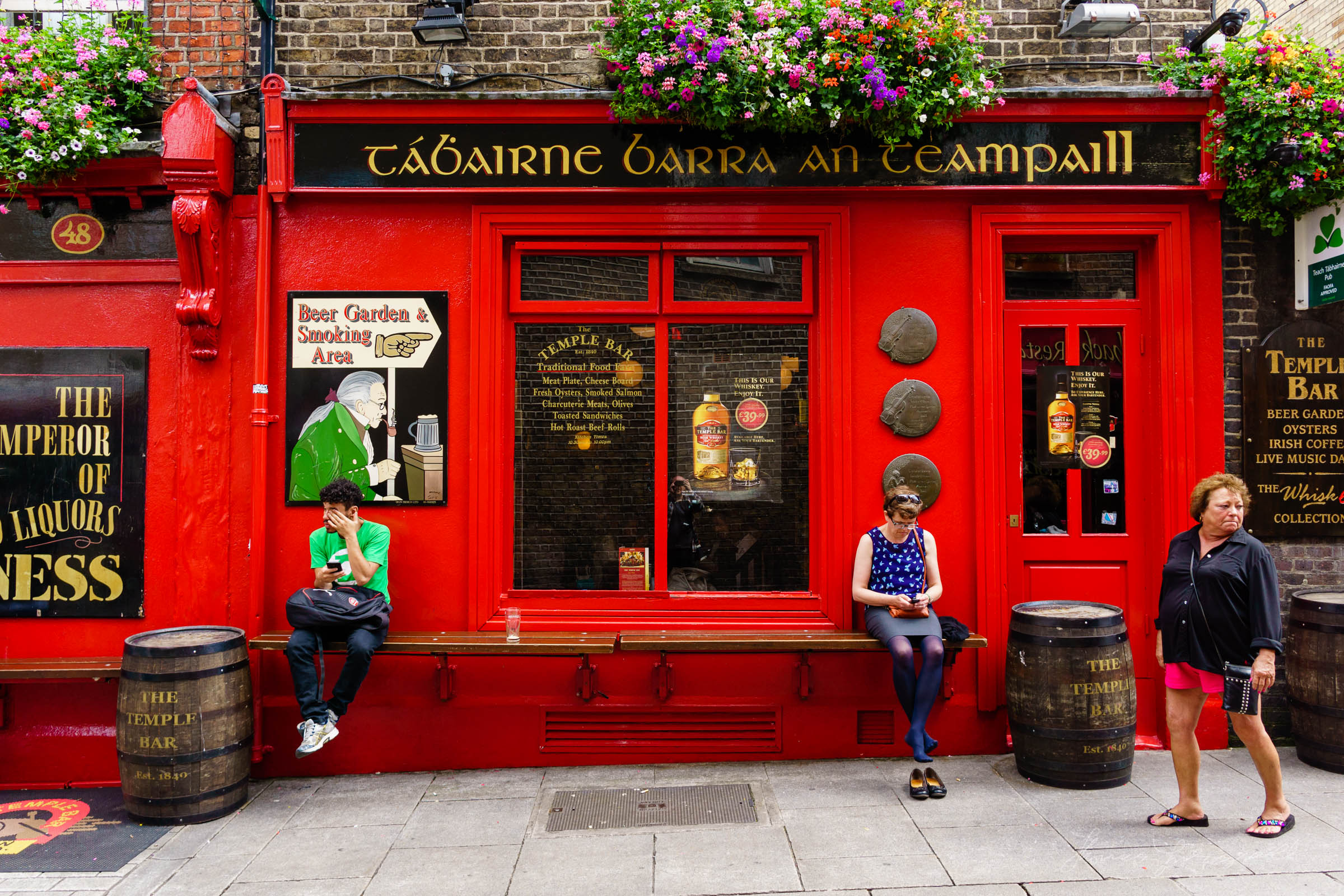 People sitting by the Temple Bar Pub
