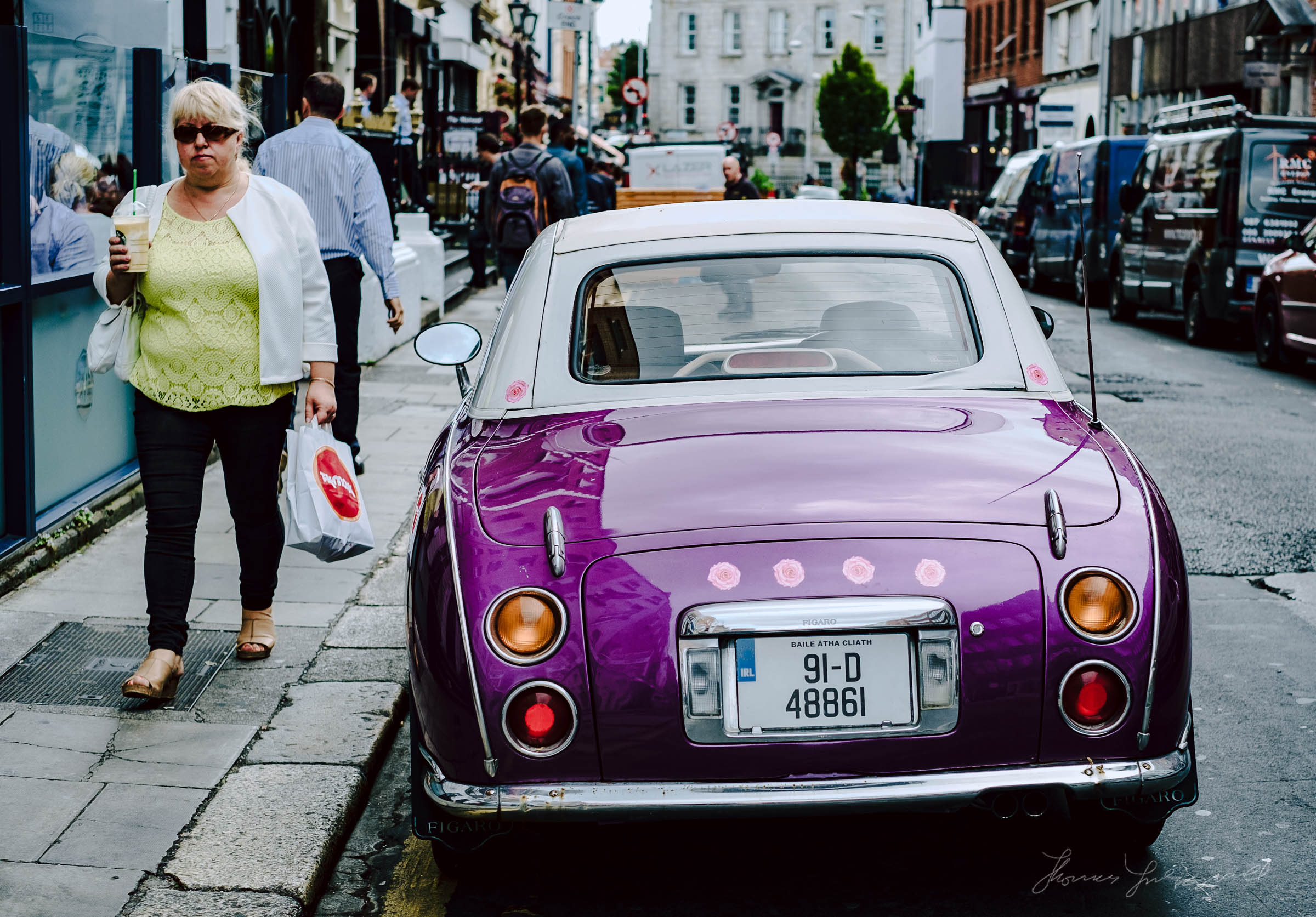 Cool car and Woman as Seen in Dublin City