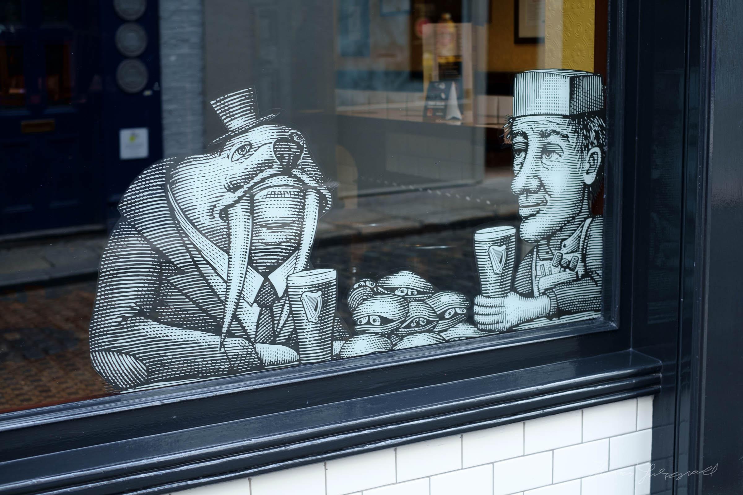 Window Art on a Pub in Dublin's Temple Bar