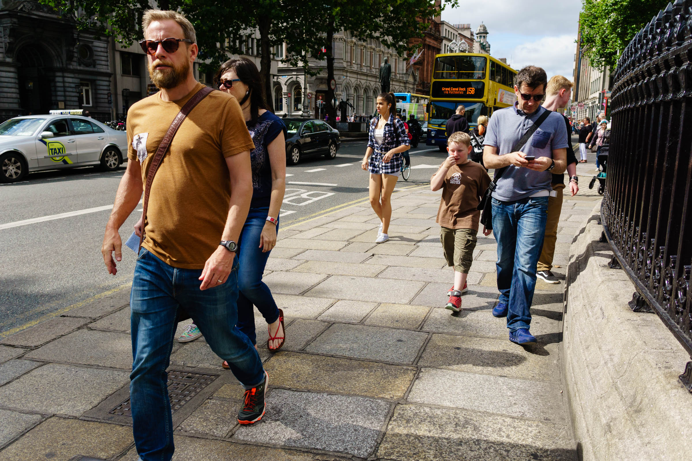 Busy walking on Dame Street