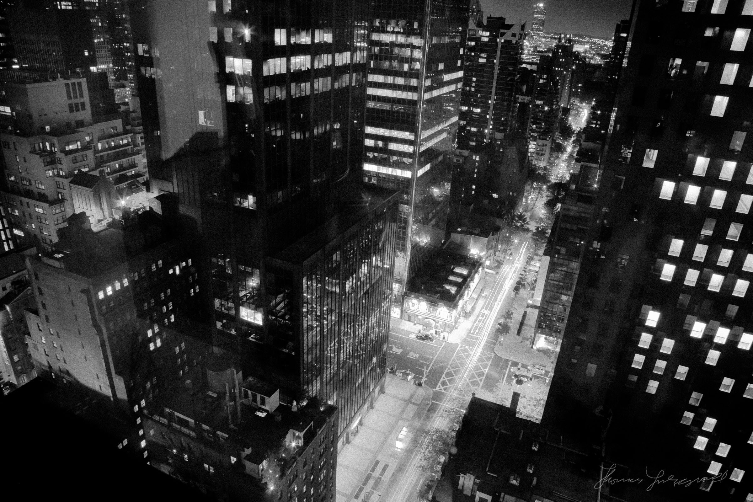 New York City Junction from Above at night