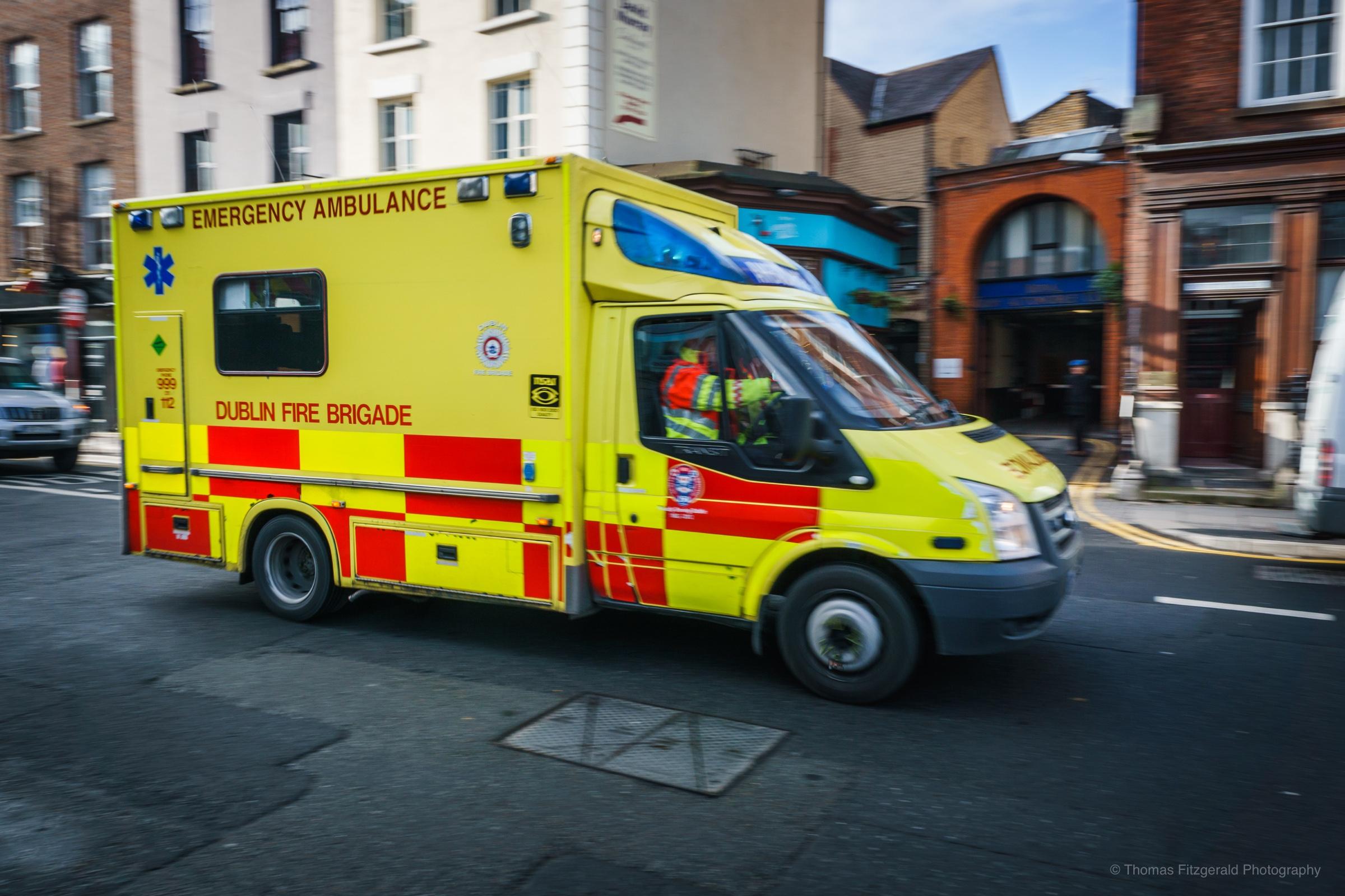 Ambulance racing down Dublin's Dawson Street