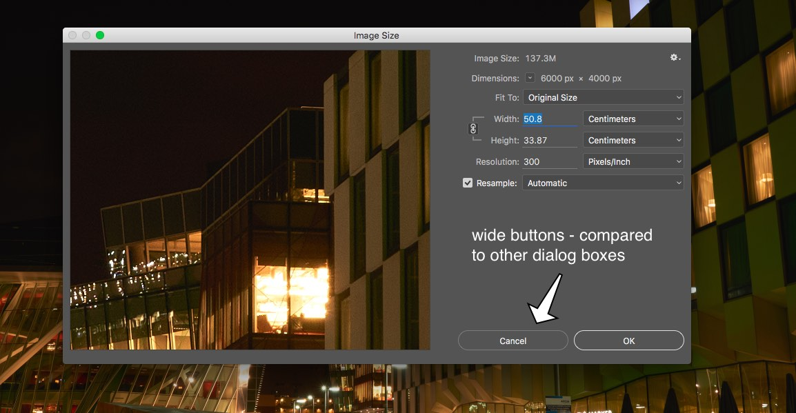 Another dialog box - note the super wide buttons compared to the previous version