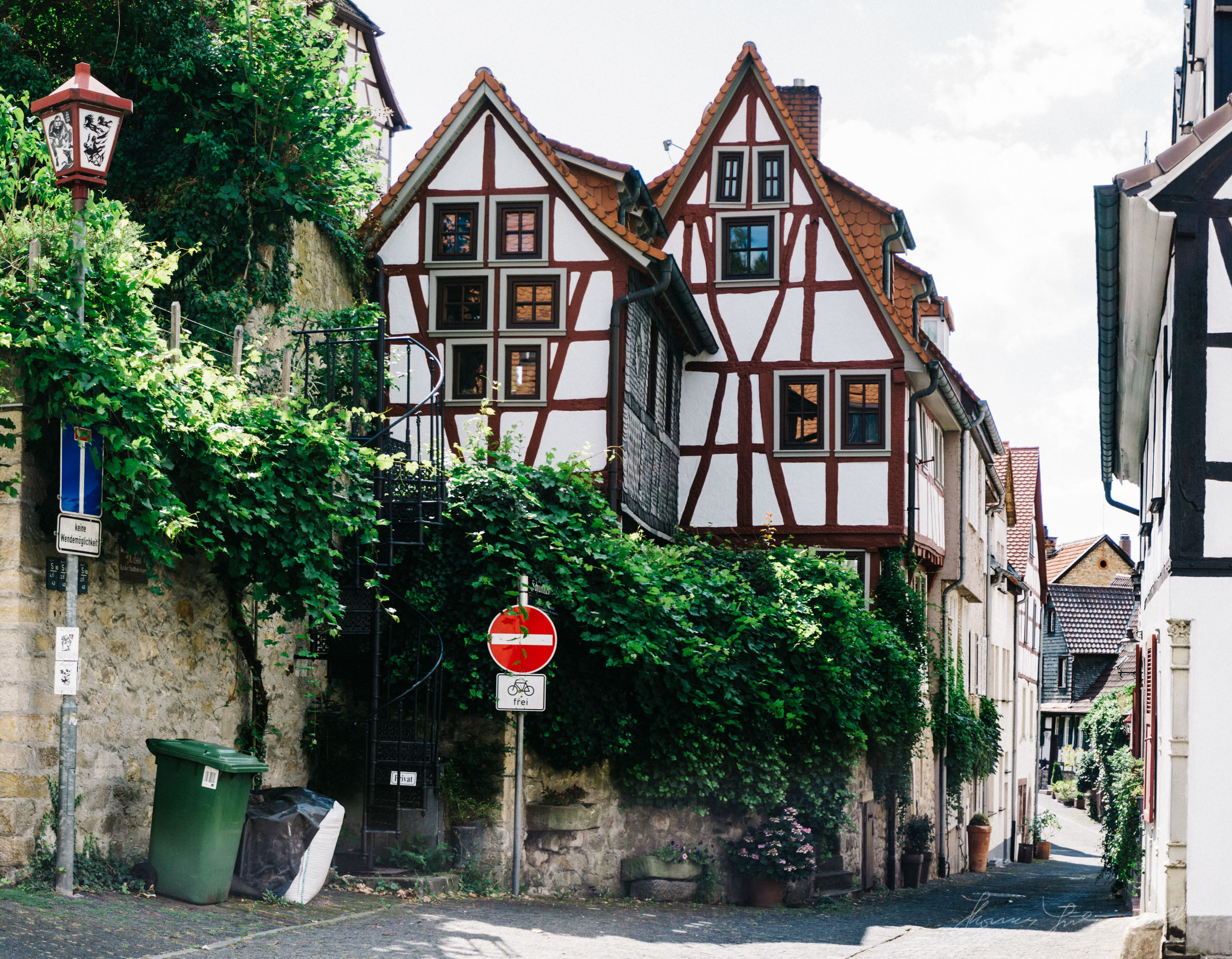 Ornate buildings and an old street, Heppenheim, Germany