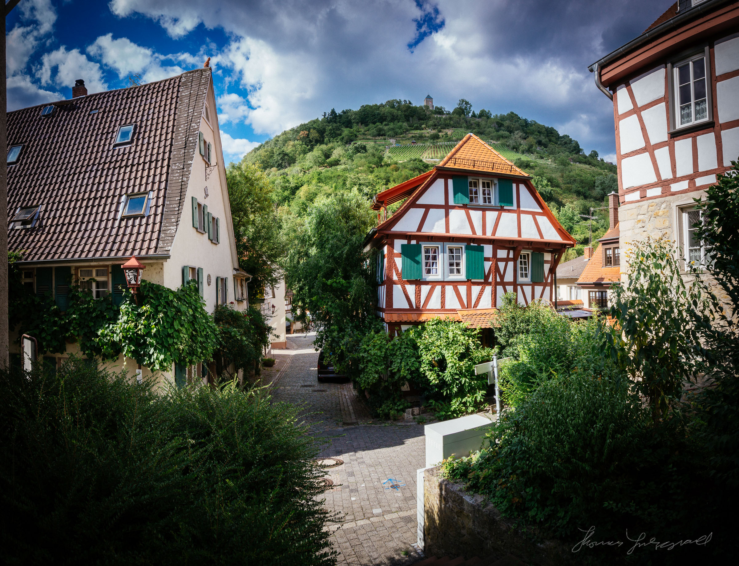 Old street and buildings, Heppenheim, Germany