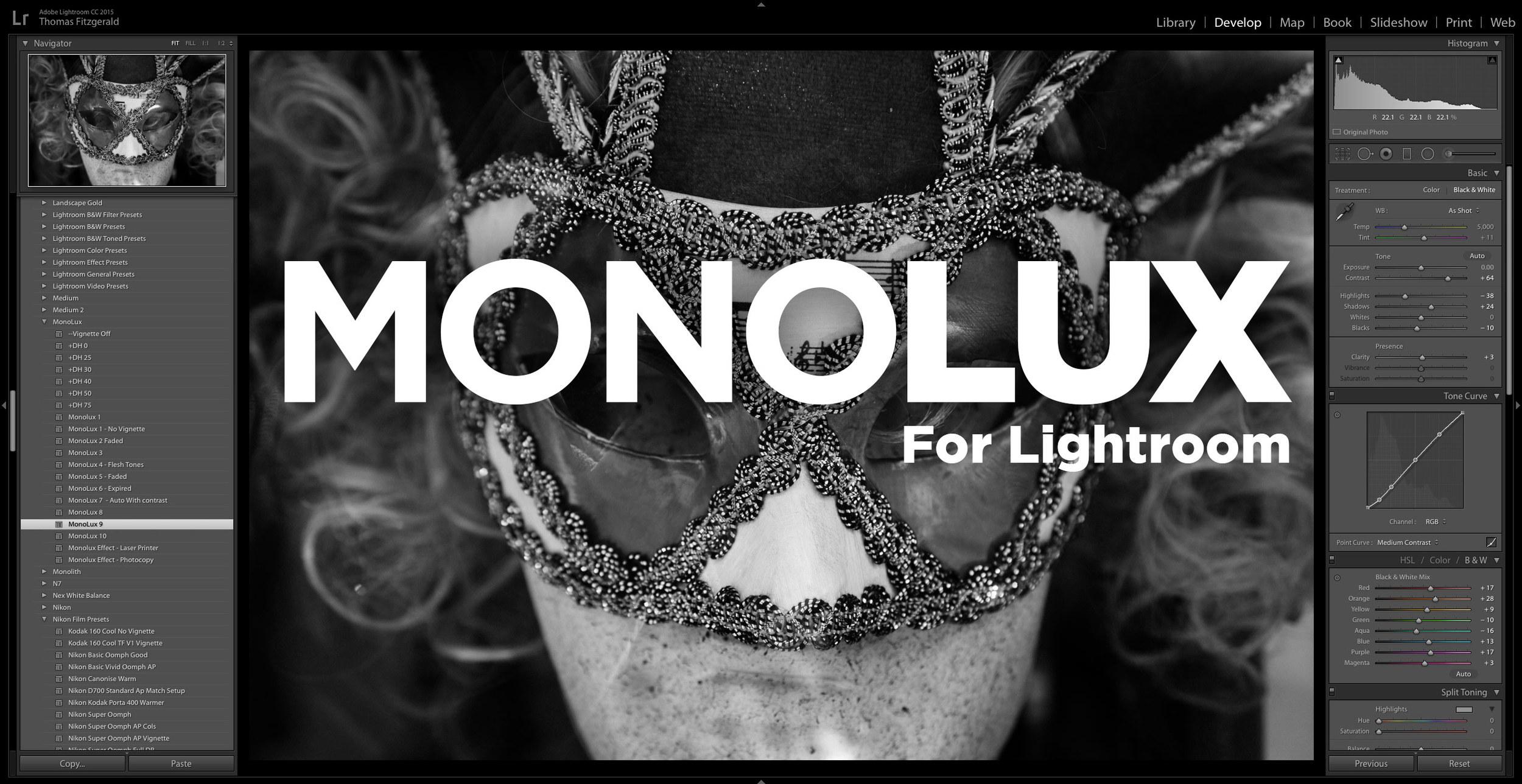 MonoLux - Black and White Lightroom Presets