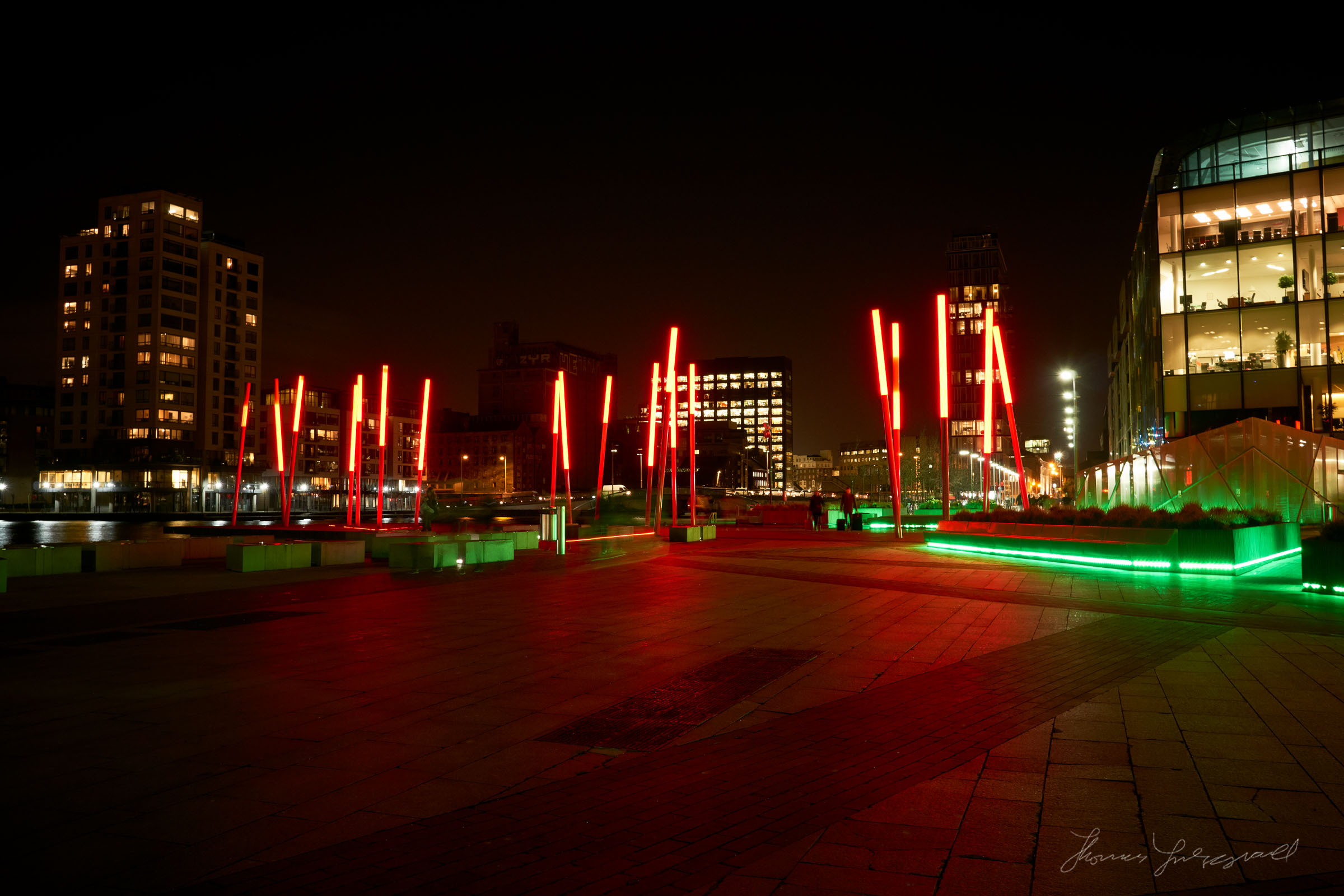 Red Lights at Grand Canal Dock