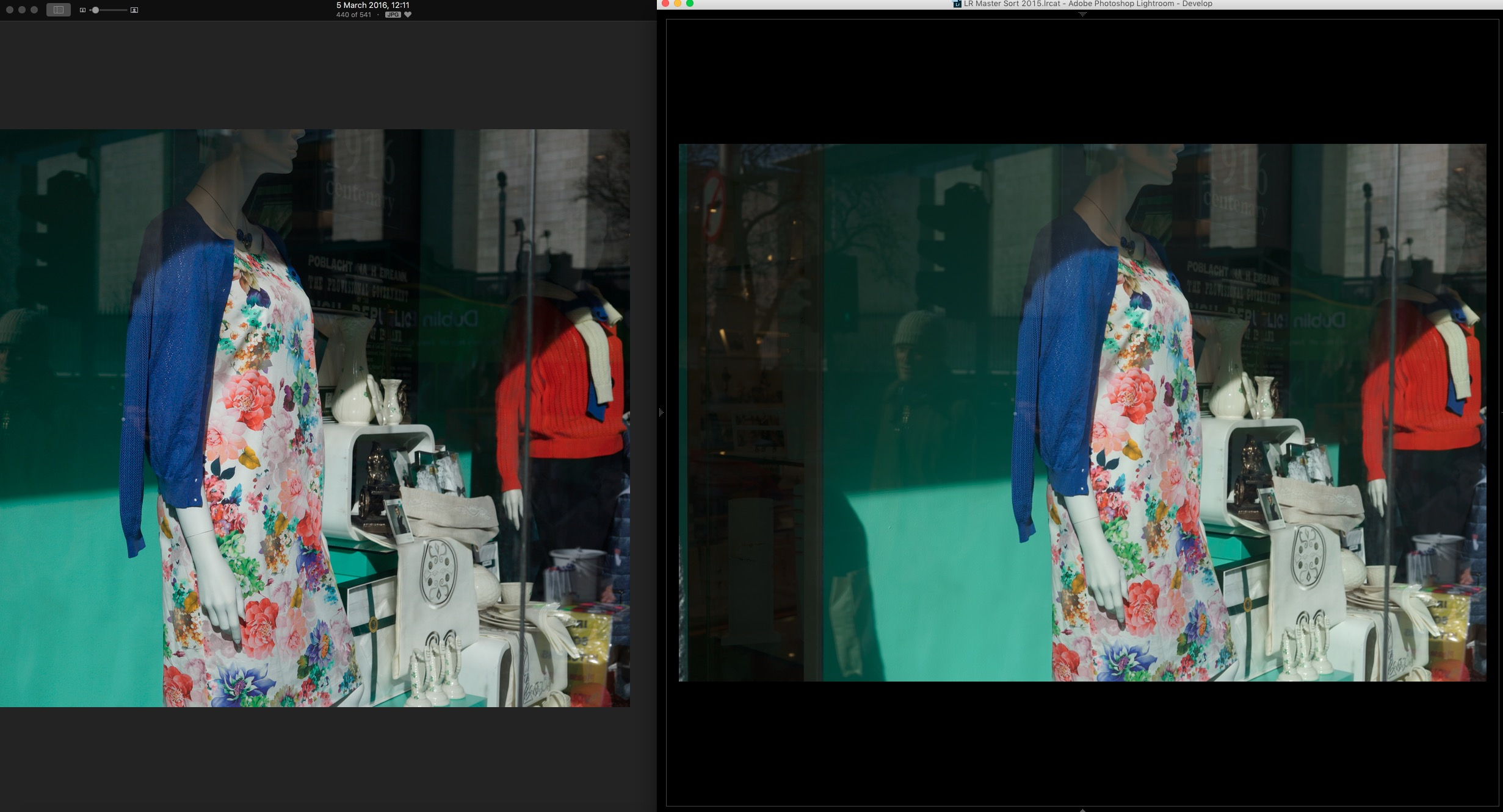 "Jpeg on the Left and Raw in Lightroom on the Right. Uncalibrated, just the ""Camera Standard"" picture profile applied. Notice the blacks in the poster, and the reds on the jumper."
