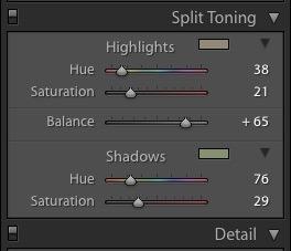 Adjusting the Split Tone balance