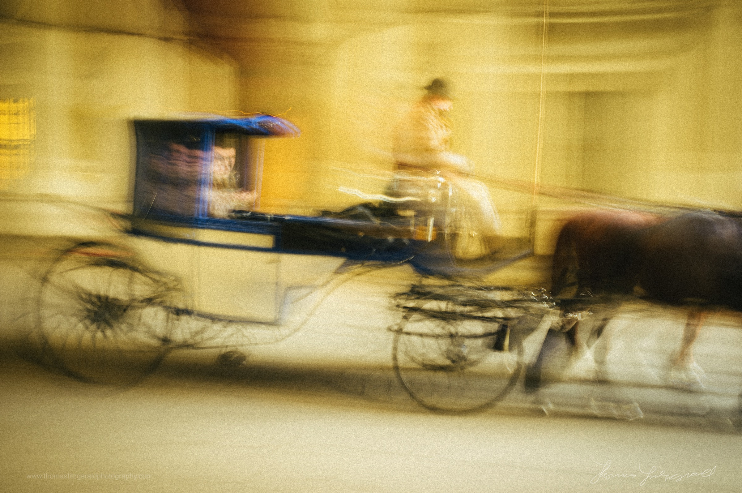 An Abstract Image of a horse and cart in Vienna