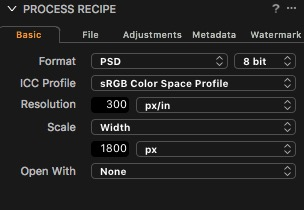 recipe settings - anything similar will work - Size will depend on your display size