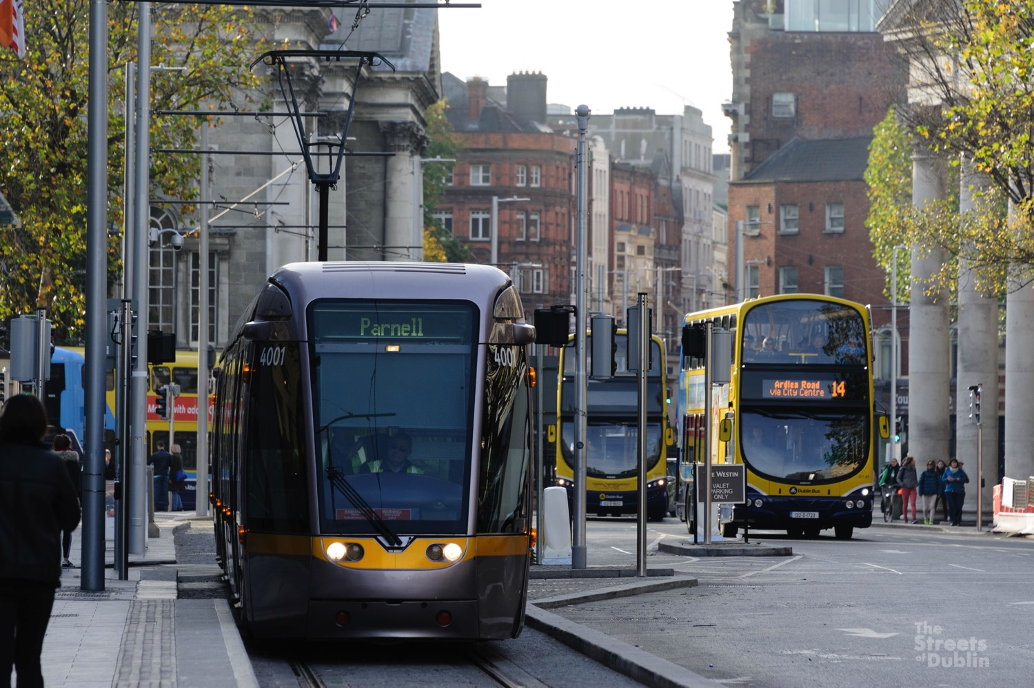 Trams being tested on the newly completed tracks