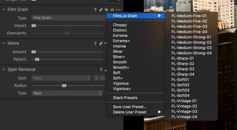 "Selecting Grain ""Presets"" from the Preset pop-up menu on the Film Grain Panel"