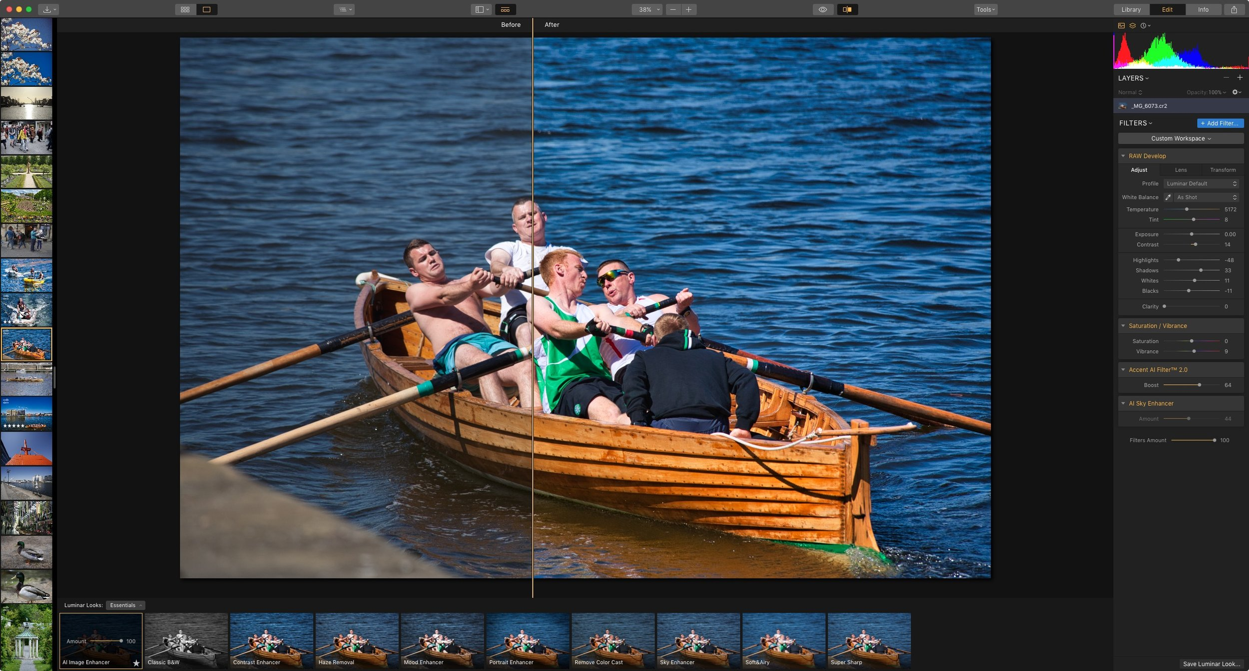 Luminar 3.1 Interface with Accent AI 2.0